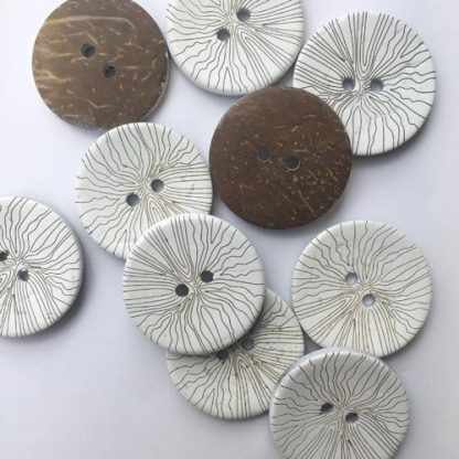 White sgraffito patterned 2 hole wooden button