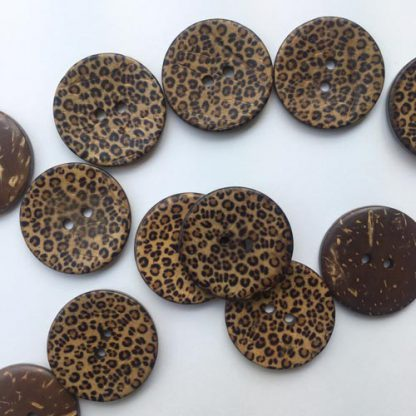 leopard animal print wooden button