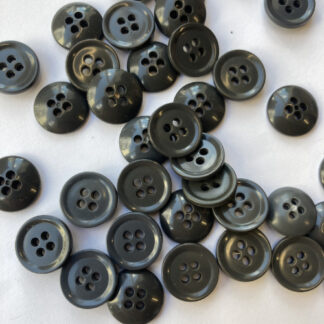 Grey traditional 4 hole plastic rugby shirt button