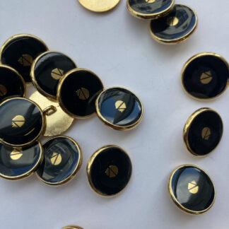black and gold acorn emblem blazer button