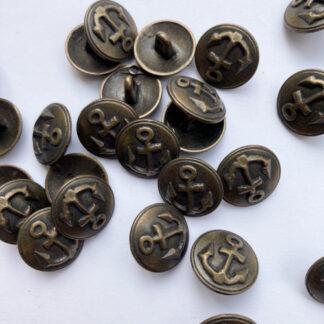 Antique brass anchor emblem metal military button on shank