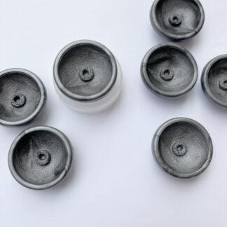 Dark Grey dish shape vintage plastic shank button