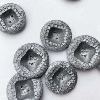 silver grey plastic vintage textured large bowl shape button