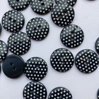 black and white polka dot spotty 2 hole plastic button