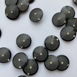 Black circle print with diamanté plastic shank button