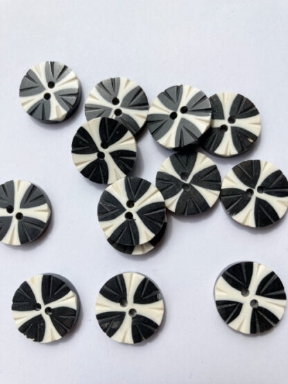 Black and White graphic tribal engraved natural bone button