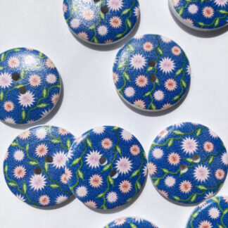 Blue and pink ditsy floral print Wood 2 hole button