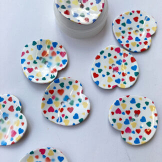 multicolour painted shell button