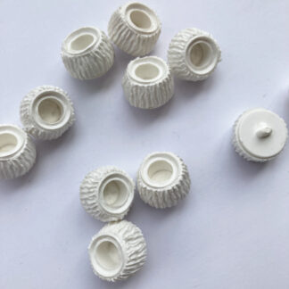 Off-White vintage matt plastic textured cup button