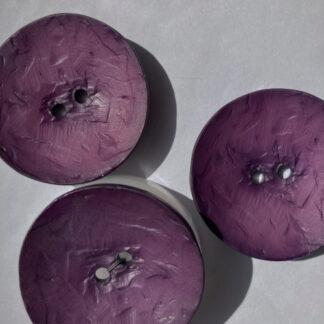 Purple round wood effect plastic statement button