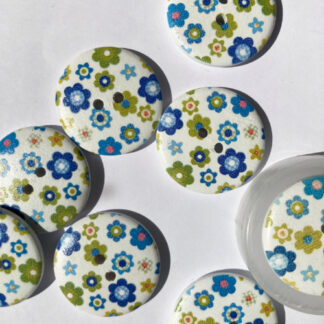 Blue and Green stylised ditsy daisy print Wood 2 hole button