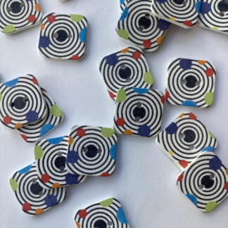 Multicolour graphic circle print square Wood 2 hole button