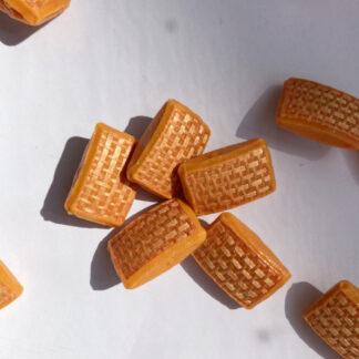 Orange raffia effect vintage plastic shank button