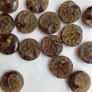 Gold and Purple rose quartz vintage plastic retro textured button with low shank