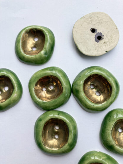 Green and Gold Lustre Ceramic thumb dent vintage buttons