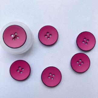 Bright Fuchsia Pink with fine black rim four hole bowl satelite shape matt plastic button