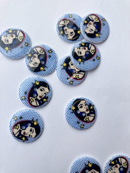 Blue Pop Art Print 2 hole plastic button