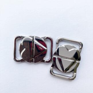 Silver Metal locking butterfly bikini clasp for 12mm strap