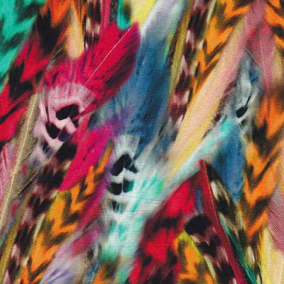 multicolour feather digitally printed viscose and elastane jersey