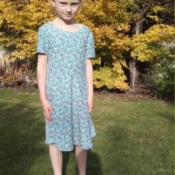 geometric print cotton and elastane t-shirt dress