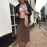 taupe brown wool mix boiled wool skirt