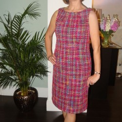 Pink Chanel type tweed shift dress