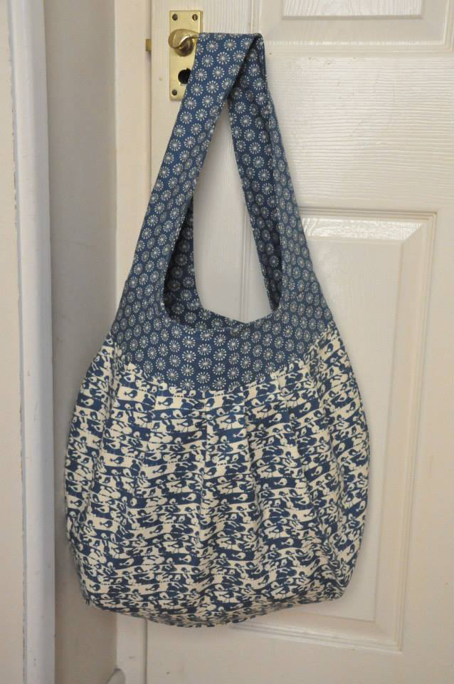 blue and cream bunny rabbits printed cotton bag