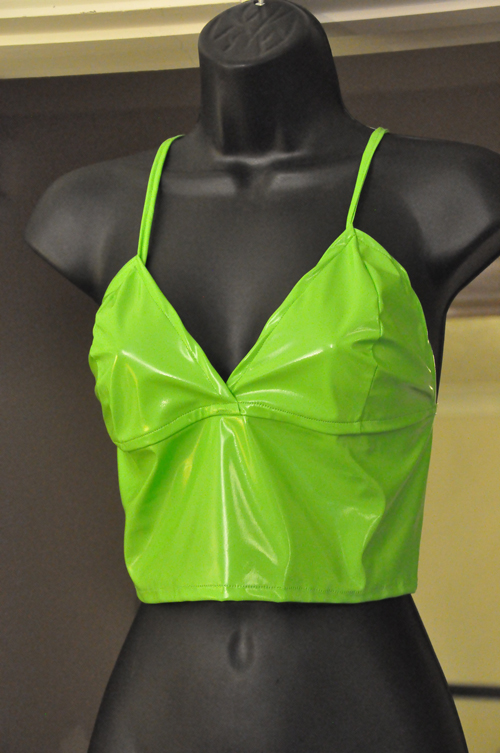 neon green pvc strappy top