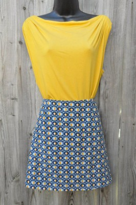retro print cotton cord a-line skirt