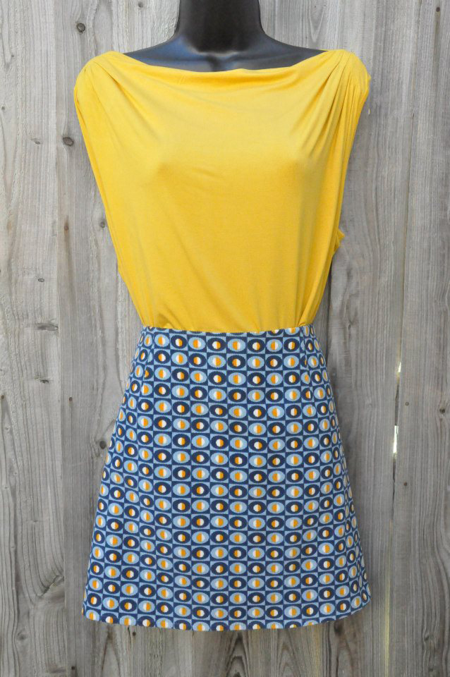 retro print cotton cord a-line skirt