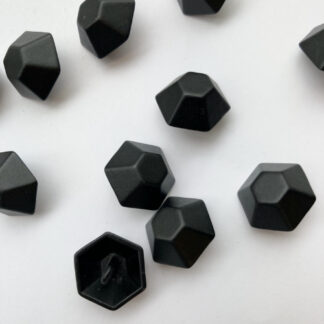 black metal hexagonal 3d shank button