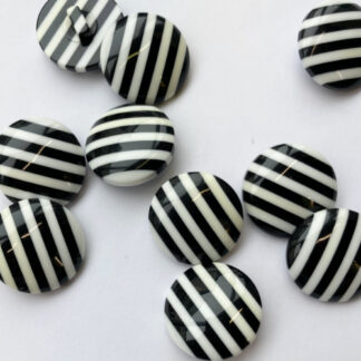 Black and White stripe domed plastic shank button