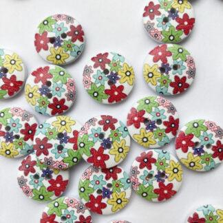 multicolour floral print wooden 2 hole button