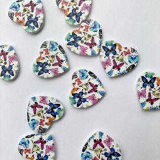 Multicolour butterfly print heart shape Wood 2 hole button