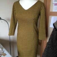 black and yellow dogtooth dress