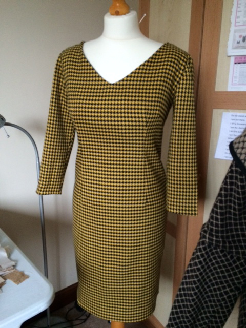 black and yellow dogtooth dress