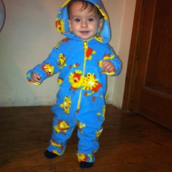 lion print fleece romper suit