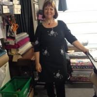 White embroidery on black cotton lawn dress