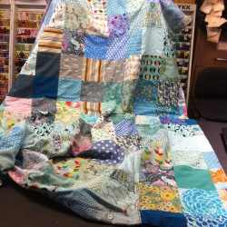 blues and greens themed patchwork duvet cover