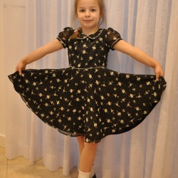 black ballet print dress