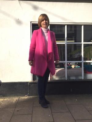 fuchsia pink boiled wool coat
