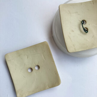 Creamy Beige large square wood effect plastic statement button