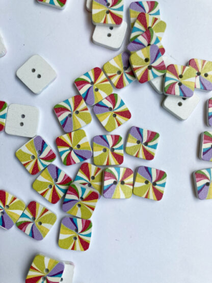 multicolour painted wood square 2 hole button