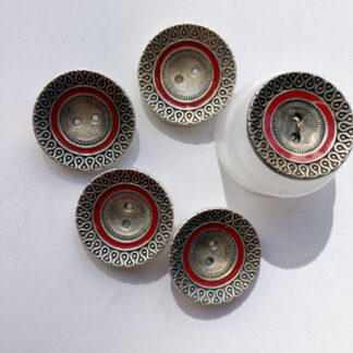 moroccan silver metal and red bowl shape button