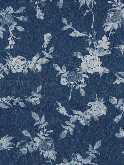 floral painted blue denim