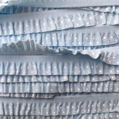 light blue spotty print frilly lingerie elastic