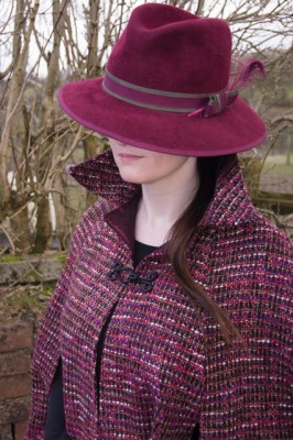 plum and burgundy chanel type tweed cape