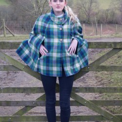 blue and green big check shetland wool tweed cape