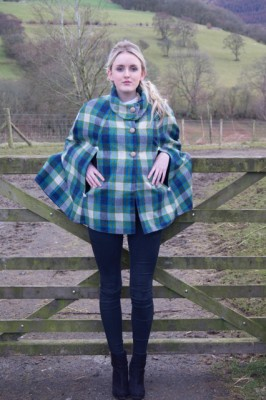 blue and green big check shetland wool tweed cape