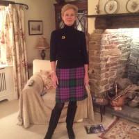Green and Purple wool tweed straight skirt